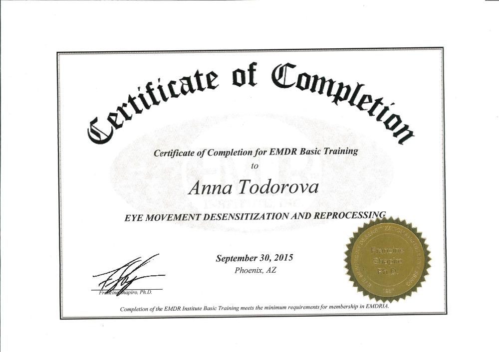 EMDR Certificate